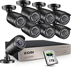 ZOSI 8CH Security Camera System HD-TVI 4-in-1 1080N Video DVR Recorder with 8X HD 1280TVL 720P Weatherproof CCTV Cameras, Motion Alert, Smartphone, PC Easy Remote Access with 1TB Hard Drive