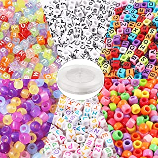 Quefe 1500pcs Acrylic Beads Containing 4 Types, Letter Beads, Large Hole Beads, UV Beads with 50 Meters Elastic String for Making Jewelry, Bracelets, etc.