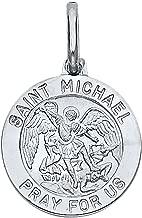 Paradise Jewelers Solid 14K White Gold Religious Saint Michael Pray for Us Pendant