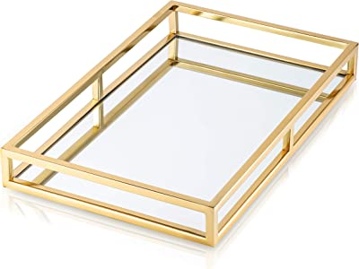 "Classic Touch Decorium Gold Oblong Decorative Tray with Mirror Base-Vanity Tray-Serving Tray-Dimensions: 16.25""L"