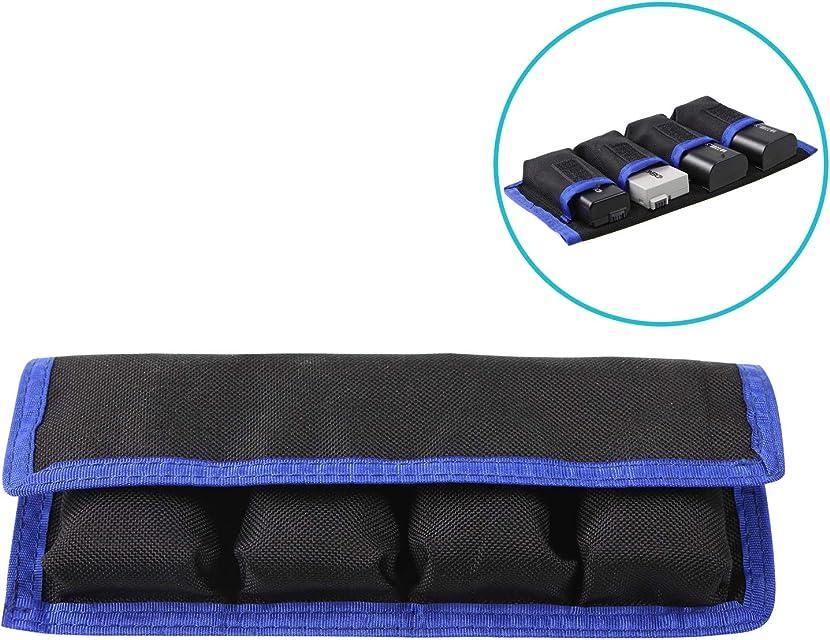 Mekingstudio Bolsa Estuche Funda Protectora Protección de Nylon Almacenamiento con 4 Bolsillo para Batería LP-E6 LP-E8 NP-FW50 EN-EL14 EN-EL15