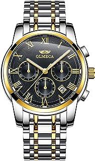 ساعة يد للرجال فاخرة كرونوغراف بسوار ستانلس ستيل وعرض انالوج وحركة كوارتز من اولميكا، مضادة للماء 6288