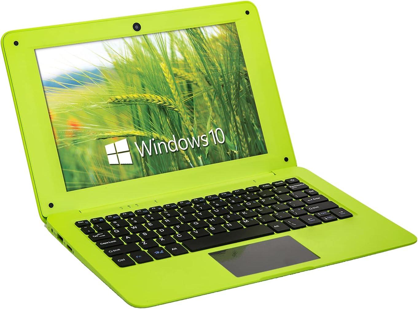 Goldengulf Windows 10 Portable Computer Laptop Mini 10.1 Inch 32GB Ultra Slim and Light Netbook Intel Quad Core PC HDMI USB Netflix YouTube for Children (Green)