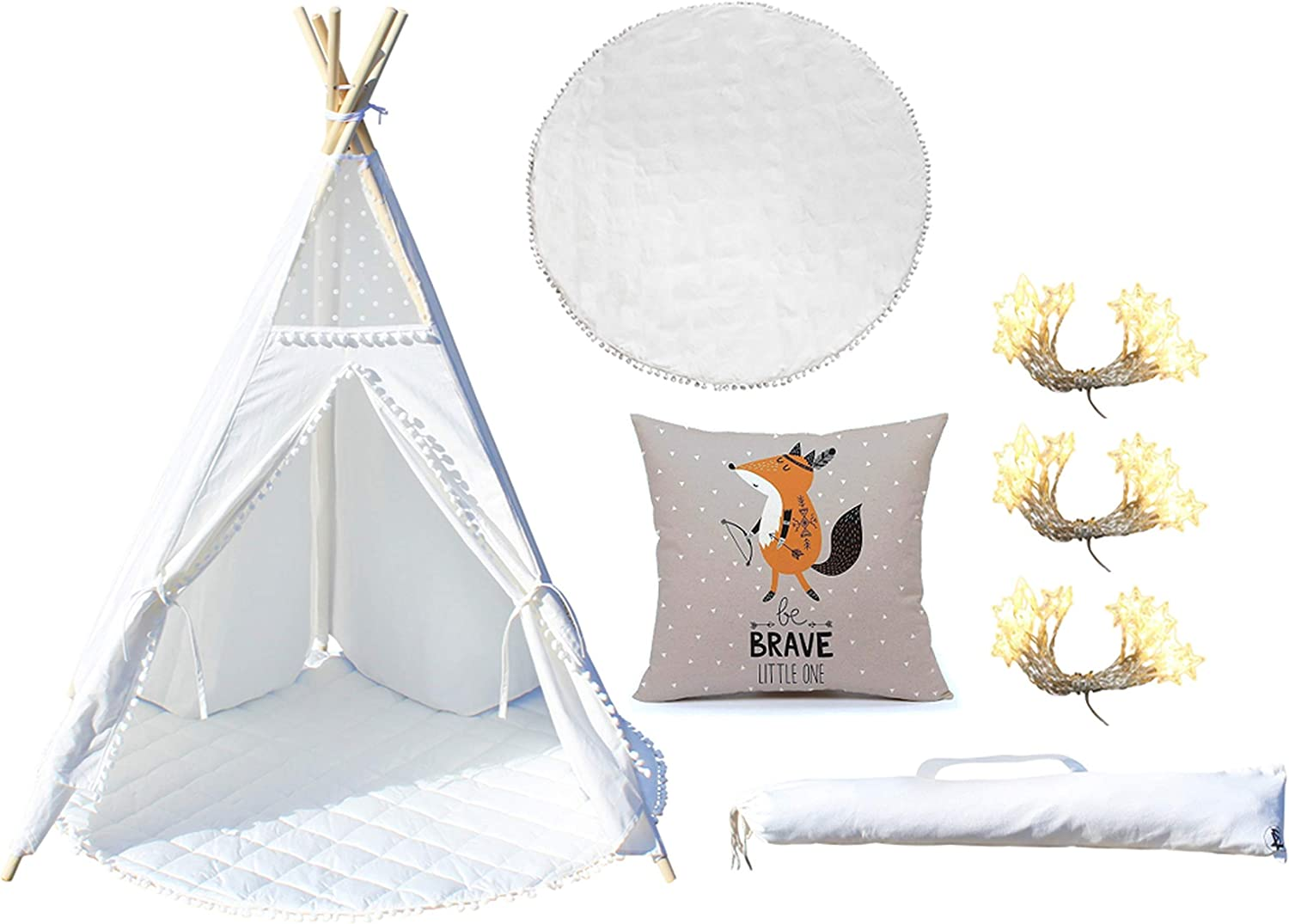 UpscaleHD Teepee Tent for Kids Includes Carry Case, Cotton Mat, Indian Fox Throw Pillow, Star Fairy String Lights, Five Wooden Poles & Anti Slip Silicone Sleeves  100% Foldable White Cotton Canvas