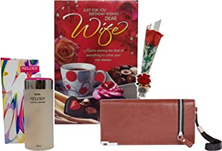 Saugat Traders Birthday Gift for Wife - Wallet, Birthday Greeting Card, Perfume & Artificial Red Rose