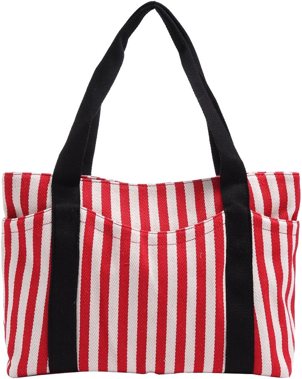 Canvas Tote Bag with Multiple Pocket Zipper Closure Sholuder Bag Travel Bag for Weekend 7 Pocket Perfect Bag for Gift