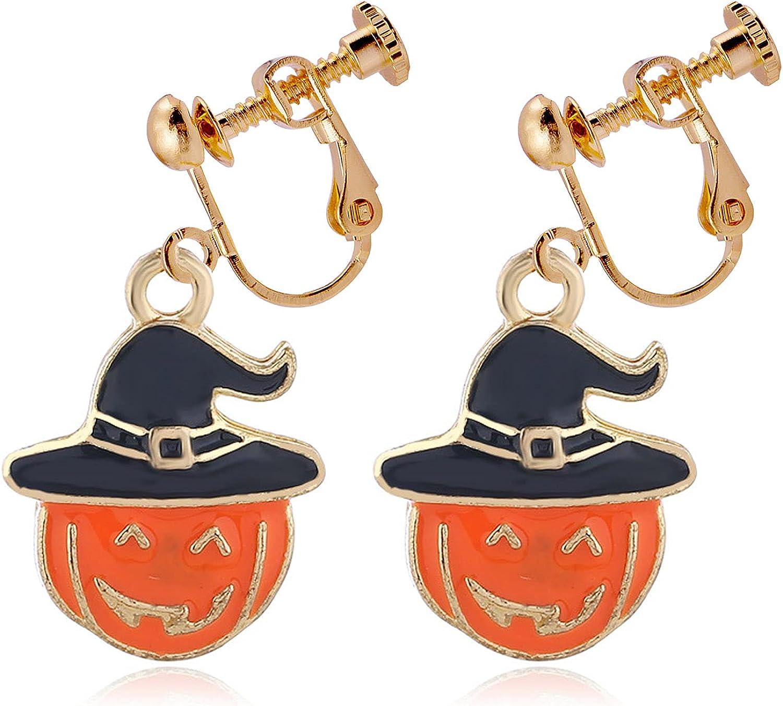 Halloween Dangle Clip on Earrings non Pierced Funny Pumpkin Hat Drop Dangling Earring Fashion Jewelry for Women Girls