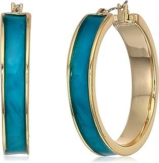 Kenneth Cole Women's Blue Shell Inlayed Hoop Earrings, Blue Mop, One Size