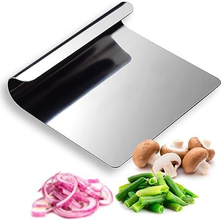 Hausfelder AIDE DE CUISINE MULTI-USAGE en acier inox 18/10 - spatule de cuisine et grattoir pizza servent comme cutter patisserie, ramasse miettes et grattoir patisserie