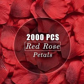 LinTimes 2000 Pezzi Pétalos de Rosa Pétalos de Rosa Artificial Rosso, Decorazioni di Nozze, San Valentino, Feste di Compleanno - Rosso