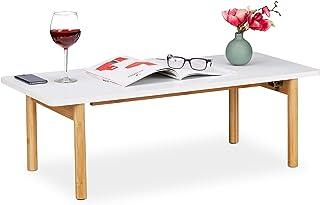 Relaxdays Mesa de Centro, Piernas de bambú, Plegable, Diseño escandinavo, Blanco/marrón, tableros conglomerado DM, 32,5 x 100 x 44,5 cm