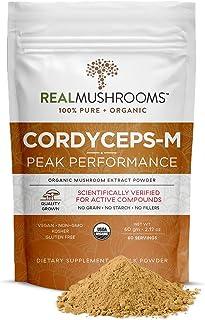 Real Mushrooms Cordyceps Peak Performance Supplement for Energy, Stamina & Endurance | Non-GMO, Vegan, Organic Cordyceps P...