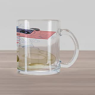 Ambesonne Panda Glass Mug, Panda Astronaut on the Moon Holding USA Flag Moonwalk Imagination Fantasy Picture, Printed Clear Glass Coffee Mug Cup for Beverages Water Tea Drinks, Red Navy White