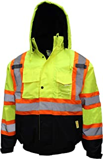 New York Hi-Viz Workwear WJX7012 Men's ANSI Class 3 High Visibility Bomber Safety Jacket with X pattern, Waterproof (5XL, Lime)