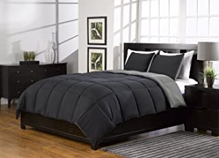 3 Pc Super Soft Extra Warm Grey and Black Reversible Queen Comforter Bed Set Down Alternative Queen Size Bedding Set with 2 Reversible Shams