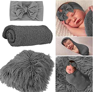 Beauenty Newborn Photography Props Baby Photo Blanket Rug Background Backdrops Hair Photography Wrap with Cute Headbands f...