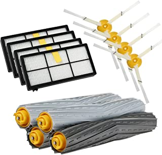 Replacement Parts Compatible with iRobot Roomba 980 880 870 800 Robotic Vacuum Cleaner (4pcs Hepa Filters, 4pcs Side Brushes, 2 Set Tangle-Free Debris Extractor)