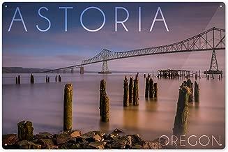 Lantern Press Astoria, Oregon - Astoria Megler Bridge at Sunrise 55906 (6x9 Aluminum Wall Sign, Wall Decor Ready to Hang)