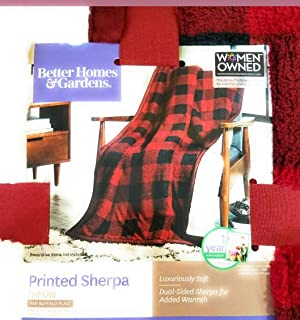 Better Homes and Garden Sherpa Throw Red Plaid Blanket 50
