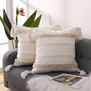SEEKSEE Boho Cotton Hand-Woven Throw Pillow Covers, Tufted decorativeThrow Pillow Covers, for Bedroom, Living Room Sofa, F...