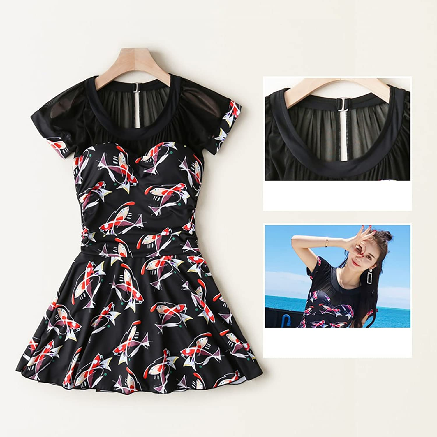 Swimsuit Hot Spring Bathing Suit Female Conservative Cover Belly Large Size Fat mm Sexy Gather onePiece DressStyle Thin Swimsuit