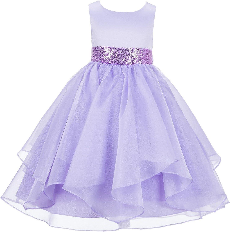 ekidsbridal Asymmetric Ruffled Organza Sequin Flower Girl Dress Princess Dresses 012S 10 Lilac