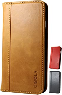 iPhone 8 iPhone 7 Case, CIBOLA Genuine Leather Wallet Folio Case Book Design with Stand and ID Credit Card Slots Magnetic Closure for iPhone 8 iPhone 7 (Brown, iPhone8 / iPhone7)