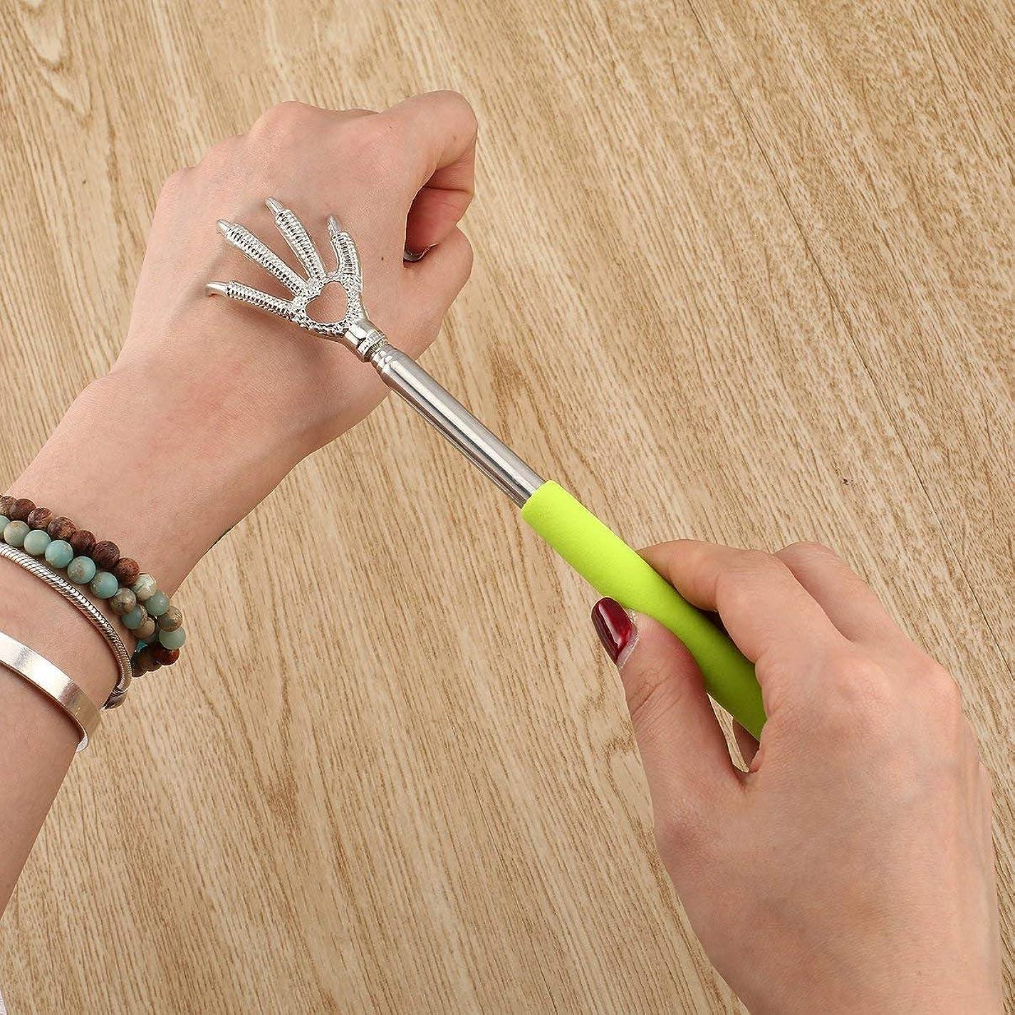 肺幻想的先入観Compact Telescopic Claw Stainless Steel Massager Back Scratcher 22-58cm Adjustable Back Scratching Massage Hand Claw