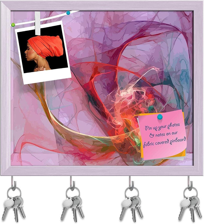 Artzfolio Digital Fractal D4 Key Holder Hooks   Notice Pin Board   White Frame 18.7 X 16Inch