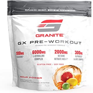Granite® GX Pre-Workout (Sour Power) | Pump: Citrulline, Taurine | Focus: Lion's Mane, Tyrosine | Energy: Tecrine, Theanin...