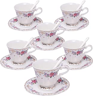ufengke 4oz Flora Coffee Cup Set,Small Capacity Porcelain Coffee Tea Sets,Set of 6 Ceramic Tea Cup and Saucer-Chinese Rose Pattern