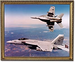 FA18 Super Hornet Jet Airplane Wall Picture Gold Framed Art Print