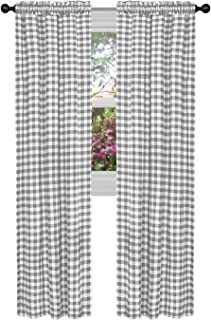 GoodGram Buffalo Check Plaid Gingham Custom Fit Window Curtain Treatments - Assorted Colors & Sizes (Gray, Single 63 in. Panel)