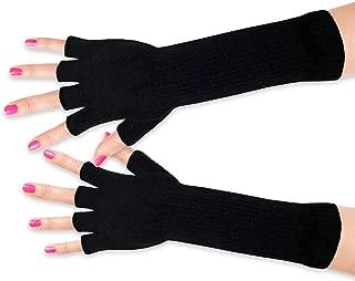 Women's Black Long Fingerless Gloves - Ladies Winter Knit Warm - Forearm Cover