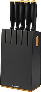 Fiskars Bloque de cuchillos con 5 cuchillos, Ancho: 14,5 cm, Alto: 36 cm, Madera de abedul, Negro, Functional Form, 1014190