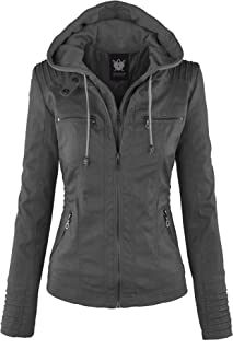 c076e69e81f2a Lock and Love Women s Hooded Faux Leather Moto Biker Jacket ...