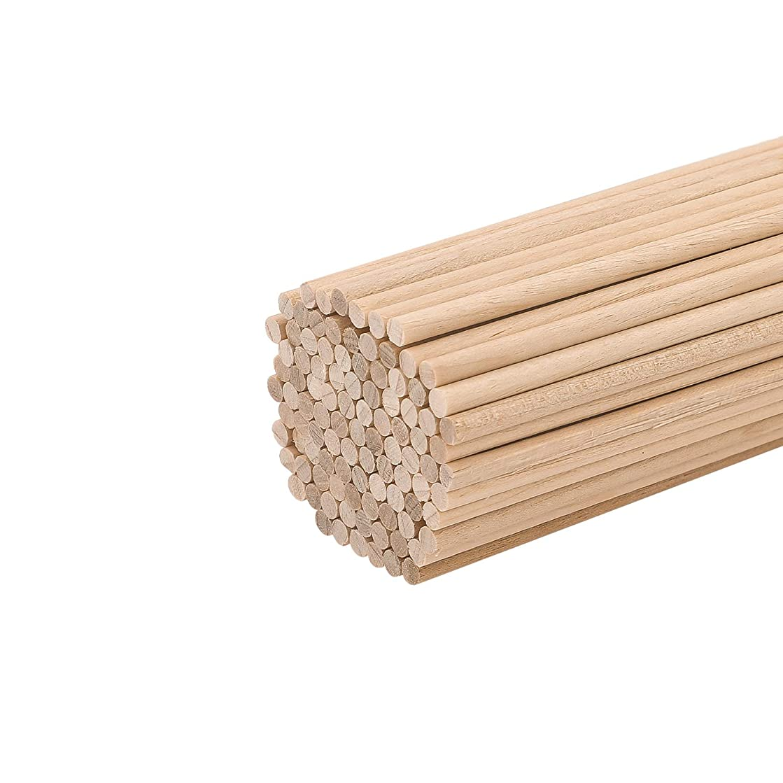 "Wooden Dowel Rods 1/8"" x 12"", Favordrory Unfinished Natural Wood Craft Dowel Rods 100 Pack"