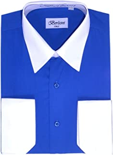 Men's Two Toned Dress Shirts with Convertible French Cuffs