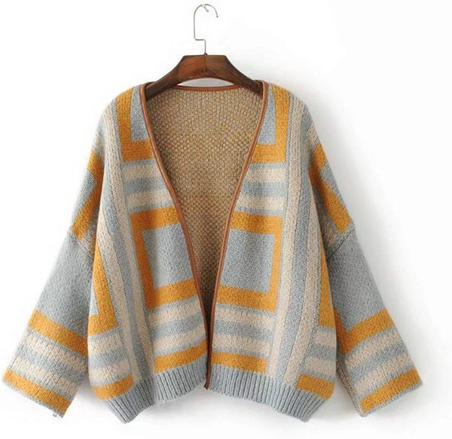 colorfulspace Winter Oversized Women Knitted Cardigan Knitting Outwear Geometric Print Sweater