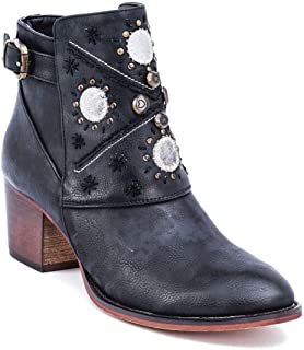 Austin Western Ankle Boots - Zip-Up Metal Studded Stacked Heel Boot