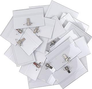 Belle Vous Porte Badge Plastique Horizontal à Pince (Lot de 100) - 9 x 6 cm - Badge Infirmiere, Ecoles, Entreprises, Confé...