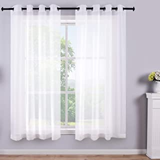 Best White Short Sheer Curtains 45 Inch Length Grommet 2 Panels Solid Faux Linen Gauze Voile Drapes Window Semi Sheer Curtains for Small Window Bathroom Kids Room Kitchen Wide 52x45 Long Set of 2 Pack Pair Review