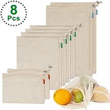 Dohomai [8 Piezas] Bolsa de Producción Reutilizable, Bolsas Compra, Bolsas de Malla Ecológicas Reutilizables, Bolsas de Algodón para Frutas y Verduras, Juguetes, Lavable y 3 Tamaños (2*S, 4*M, 2*L)