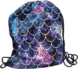 WIRESTER Drawstring Rucksack Shoulder Bags for Gym Yoga Travel Beach School - Mosaic Mermaid Scale