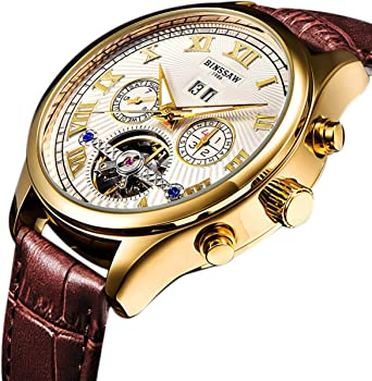 Binssaw Men's Luxury Gold Leather Strap Mechanical Watch