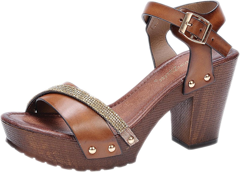 Room Of Fashion Women's Two Tone Rhinestone Sling Back Stud Decor Open Toe Chunky Platform Clog Heel Brown