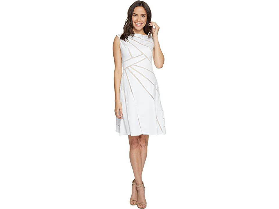 Adrianna Papell Cotton Sateen Fit and Flare Dress (White/Bisque) Women