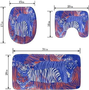 Zemivs Animal Nature Beast Forest Tiger Alfombrillas de baño Set de 3 Piezas, alfombras de baño de Ducha Suaves, tapete de Co