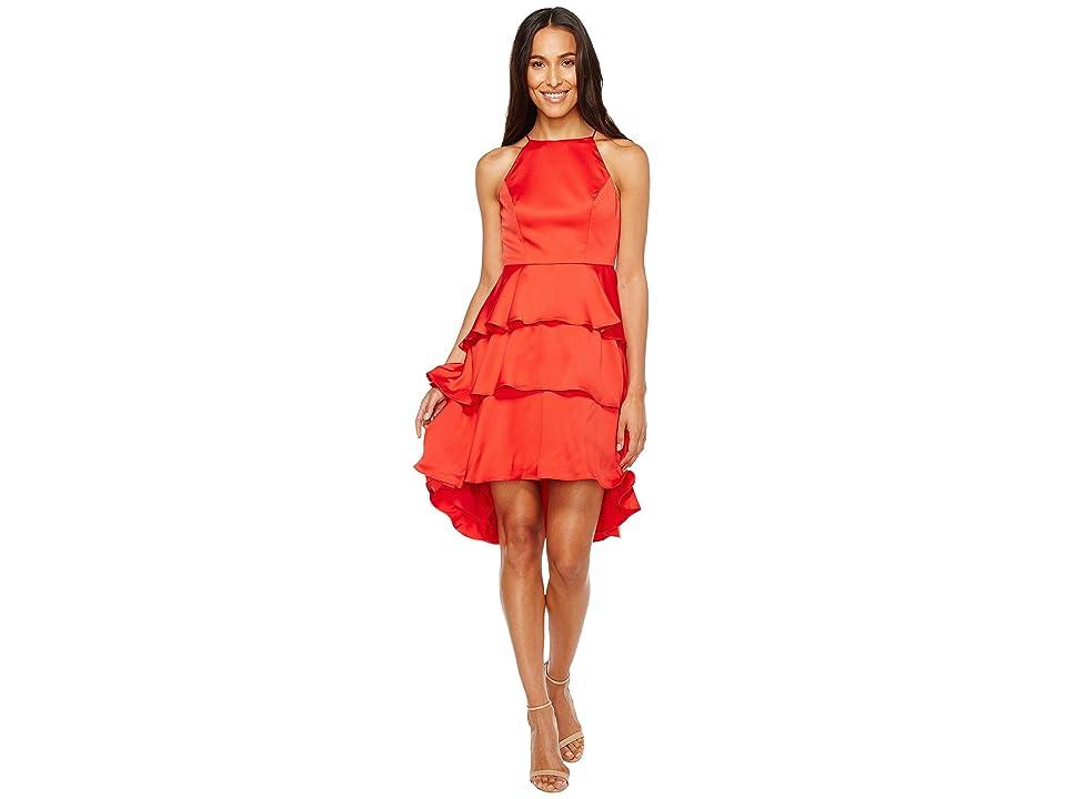 Aidan Mattox Satin Tiered Halter Cocktail Dress (Red) Women