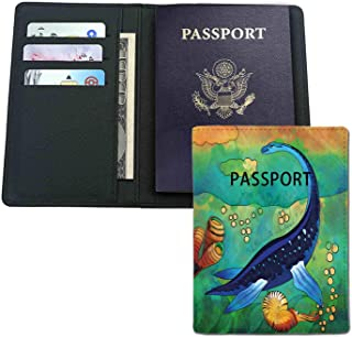 Leather passport holder - Ancient Wild Sea Creature Plesiosaurus in Its Underwater Habitat-credit card,passport,ID card protection.Travel gifts,good gifts for neighbors,friends,colleagues